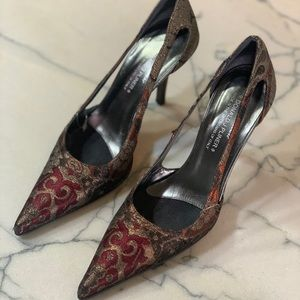 Donald J Pliner Couture Brocade Cut Out Heels